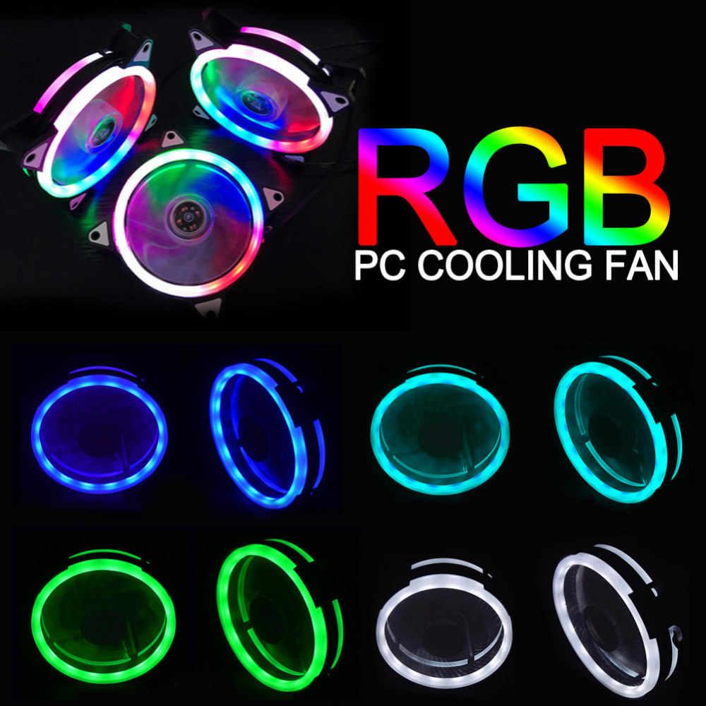 Luces de arco iris LED ventilador colorido RGB ajustable color ventilador 120mm LED PC computadora refrigeración refrigerador silencioso ventilador con cubierta controlador