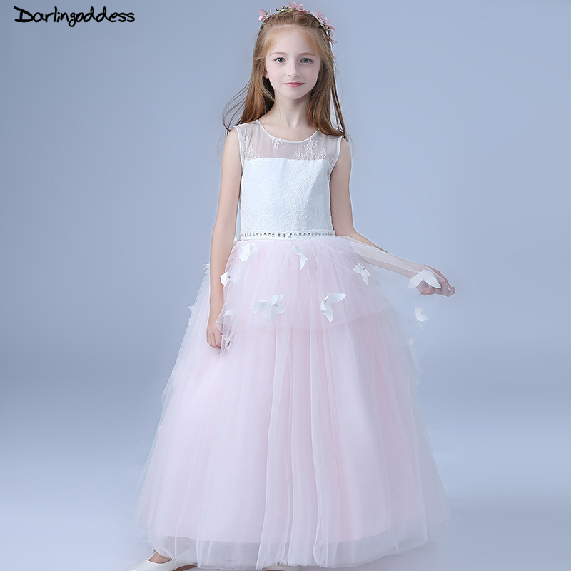 2018   Flower     Girl     Dresses   for Weddings Kids Pageant Birthday Formal Party Butterfly Long   Dress   Bowknot First Communion   Dress