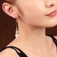 925 Silver Hook Hanging Earrings Luxury Bride Jewelry Gift Dangle Hook Long Earrings