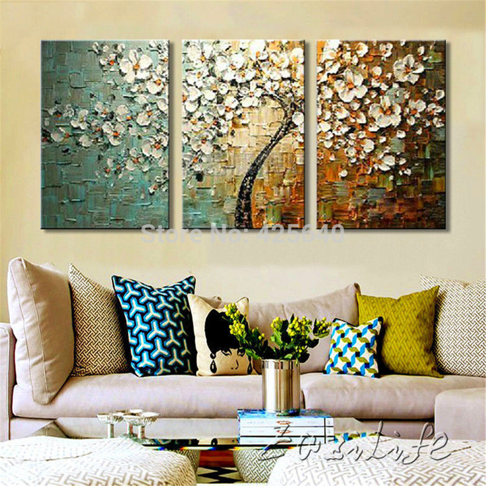 Buy 3 piece hand painted flower tree - Contemporary wall art for living room ...