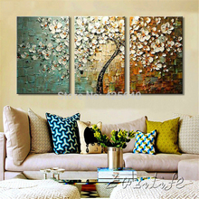 3 Piece Hand Painted  Flower Tree cuadros Oil Painting Wall Art Canvas Picture Modern Abstract Home Decor Living Room Knife Set