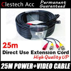 11,11 BigSale 25 м видео + кабели питания безопасности кабели для видеокамеры для видеонаблюдения DVR системы скрытого с BNC DC разъемы расширение