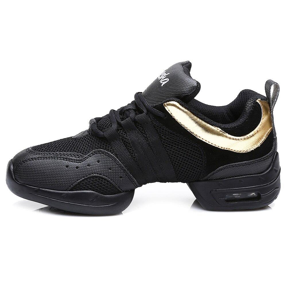 291ca9b0 Venta caliente en el almacén a estrenar unisex moderno Jazz hip hop danza  sneakers Zapatos cerdo negro rojo oro color libre libre b56 en Zapatillas de  baile ...