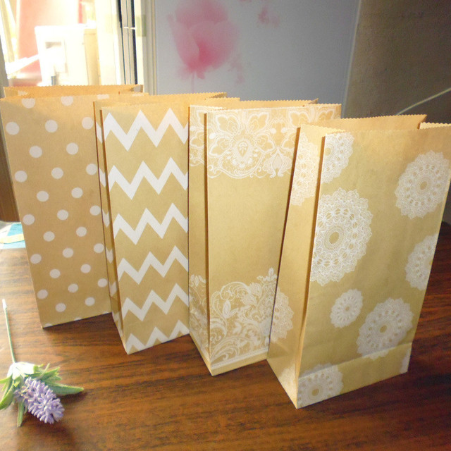 5pcs Plus Handmade Paper Bag Diy Candy Open Top Gift Bag Kraft Paper