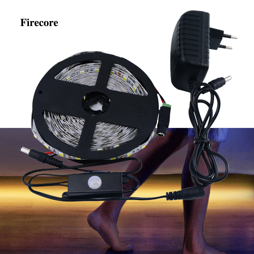 Firecore 5M 150/300 leds 5050 SMD white /red / green / blue / led strip +PIR motion body sensor detector switch +2A power lole леггинсы lsw1234 motion leggings m blue corn