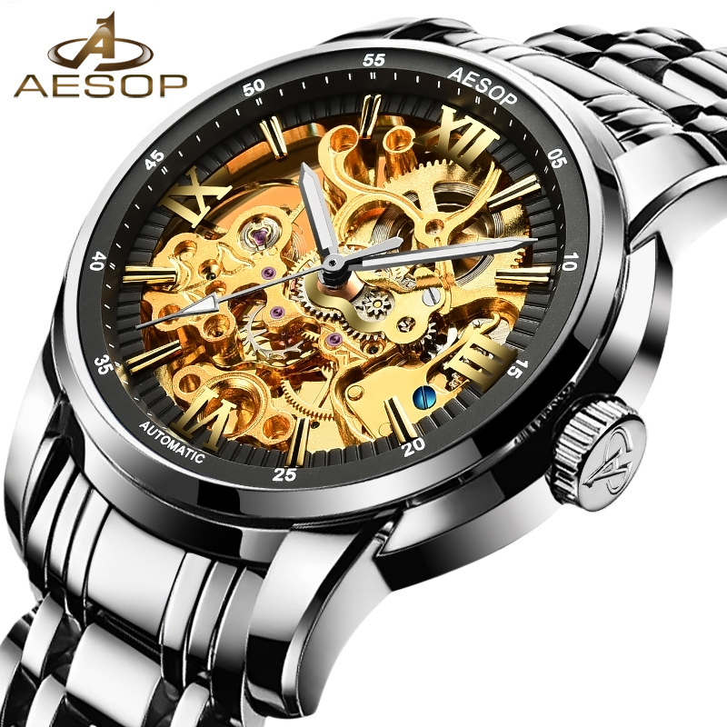AESOP Men Watches Automatic Mechanical Skeleton Wristwatch Stainless Steel Strap Male Clock Gold Hollow Relogio Masculino Box 27 aesop business watch men automatic mechanical wristwatch brand male clock steel strap waterproof shockproof relogio masculino 27