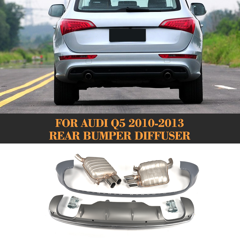 Rear Bumper Diffuser Lip Spoiler With Exhaust for Audi  Q5 Sport Utility 4 Door 2010 2011 2012 2013 Grey PP