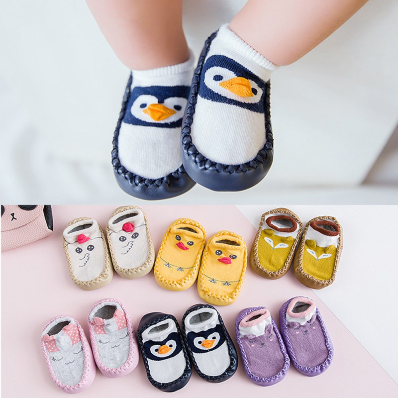Cute Baby Boys Girls Shoes Toddlers Soft Sole Non-Skid Indoor Shoes Socks/Slippers Autumn