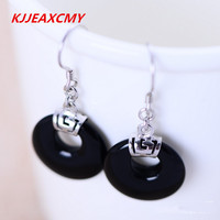 925 Sterling Silver Jewelry Natural Black Agate Earrings Small Disc Female