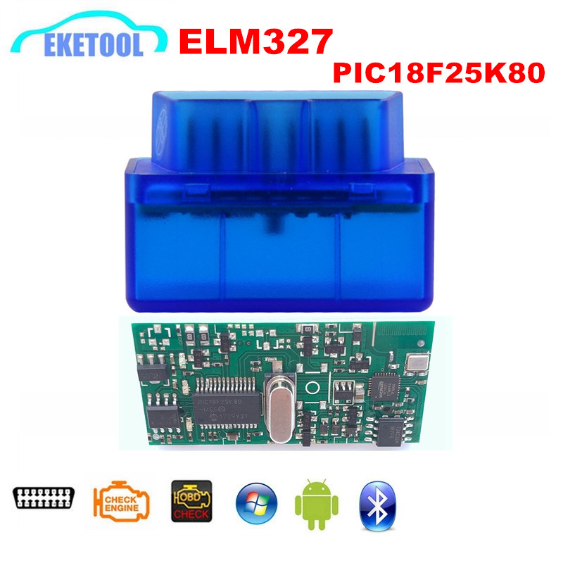 OBDII ELM327 <font><b>V1.5</b></font> Bluetooth PIC18F25K80 Works Multi-Cars Diesel Supports J1850 Protocols ELM <font><b>327</b></font> <font><b>V1.5</b></font> For Android Wireless image