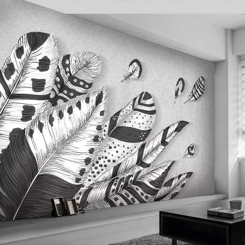 Custom 3d Wall Mural Wallpaper Abstract Modern Black White Feather Photo Art Wall Painting Living Room Bedroom Restaurant Decor