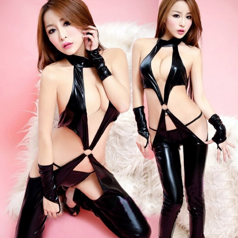 Women Faux Leather Latex Catsuit Black Patent Leather Open Crotch Bodysuit Bandage Nightclub Pole Dancing Clothes Sexy Lingerie
