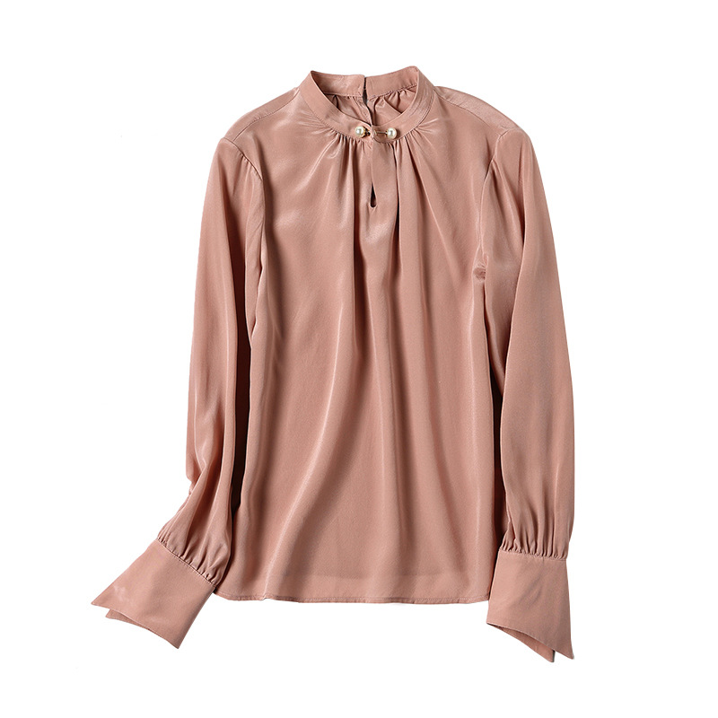 Longues Chemisier Eté Noir rose Cou blanc Femmes Nouvelles Solide Lâche Soie Chemises 2019 Pulls 100 Printemps Manches À Stand xYnCqapFw6