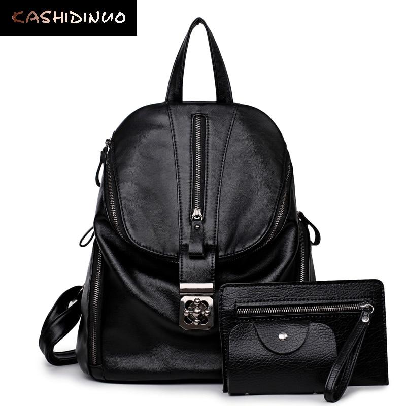 KASHIDINUO Brand Women Backpack Black PU Leather Backpacks For Teenage Girl School Shoulder Bags Female Travel Bag Mochila Mujer