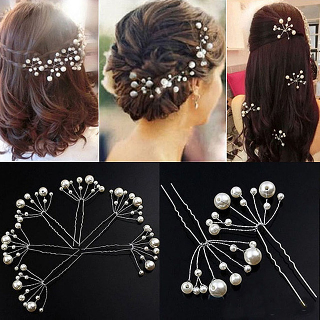 Wedding Crystal Pearl Hairpins For Bridal Hair Accessories Fashion Women Clips Jewelry Trombone