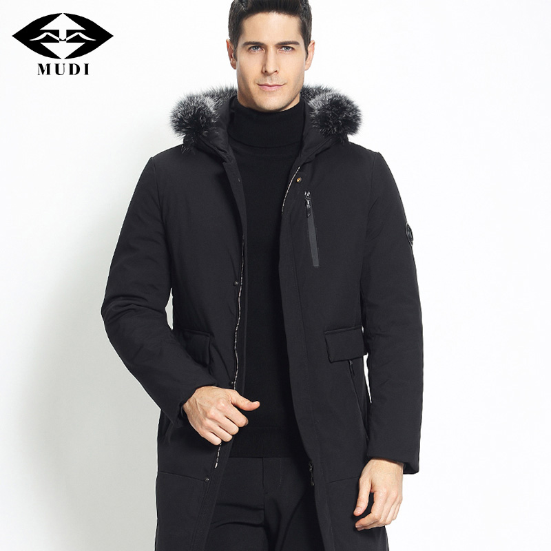 MUDI Men Down Coats Thick Long Winter Jacket Warm Down Jacket Removable With Fur Collar Hooded Male Black Parka Business Jacket