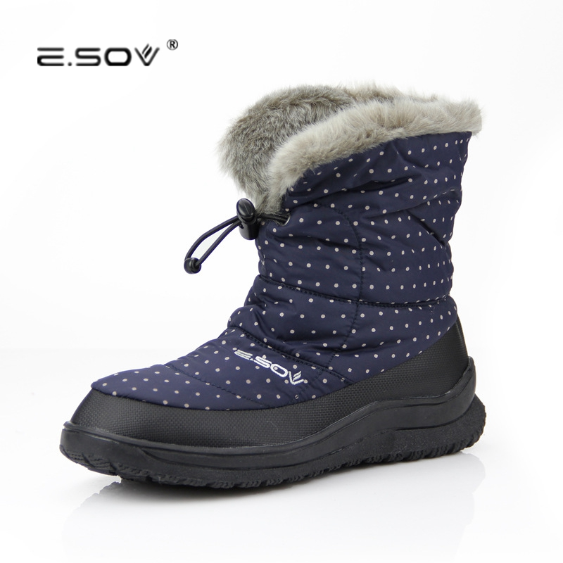 Fur Warm Down Snow Boots Polka Point Ladies Non-slip 2017 New Fashion Mid High Female Winter Warm Cotton Shoes  40 Big Size