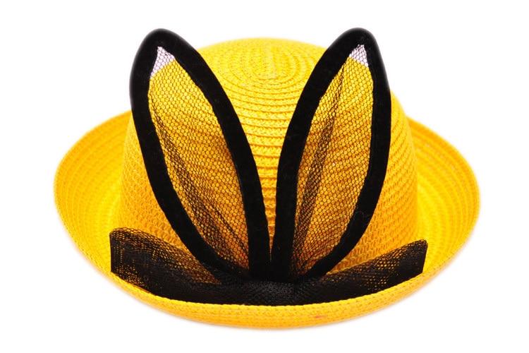 Летние девушки Шапки дети милый кролик уха шапки Дети защиты от солнца пляжная шляпа девушки шапки для летних соломы ninos сомбреро YY0308 - Цвет: Yellow summer hat ki