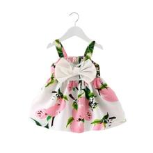 2018 Summer Baby Girl Dress Bowknot Printed Sleeveless Infant Girls Dresses 0-2 Years Newborn Baby Girl Princess Party Dresses
