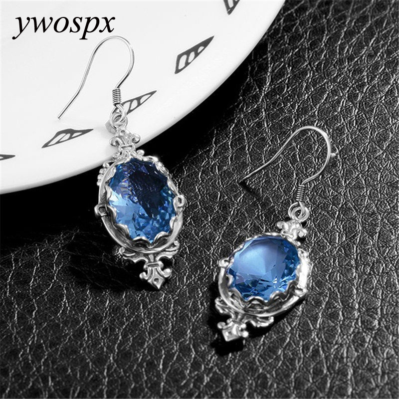 2018 New Design Blue Crystal Zircon Earing Silver Dangle Earrings for W