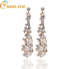 2017 Luxury Synthetic Pearl Long Earrings White Crystal Plant Gold Color Dangle Drop Earrings for Women Wedding Jewelry NYER93
