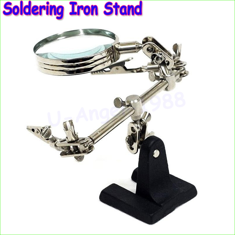 Register free shipping ! Third Hand Soldering Iron Stand Helping Clamp Vise Clip Tool Magnifying Glass for RC Quadcopter