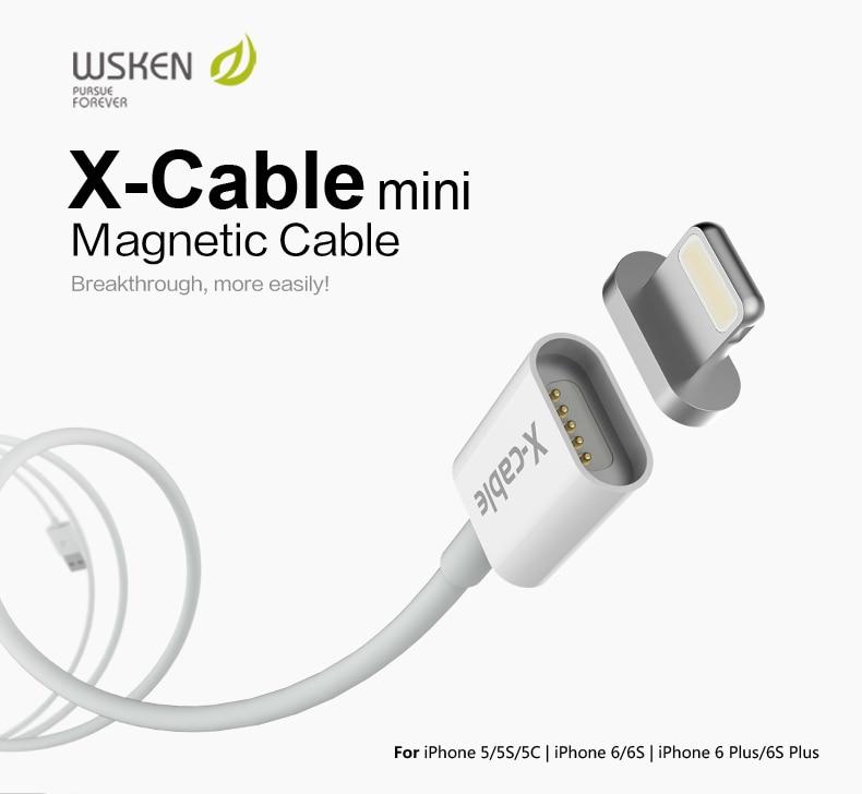 97c5e9b2275 Wsken 100% Original Metal Micro USB adaptador magnético de carga del  cargador del Cable para el iPhone 5 5C 5S 6 6 S más Mini iPad 2 3 4 aire 1  2 ...
