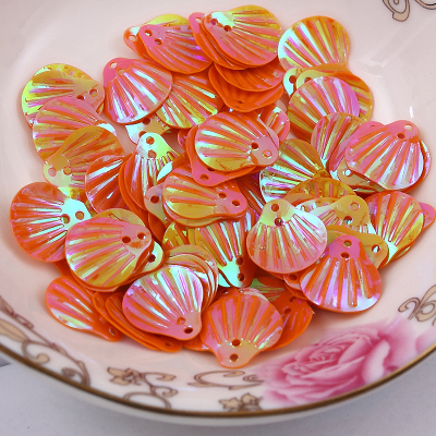 1000pcs/lot  13mm Shell sequins 2holes Orange colors Jewelry Accessories cloth crafts confetti clothing