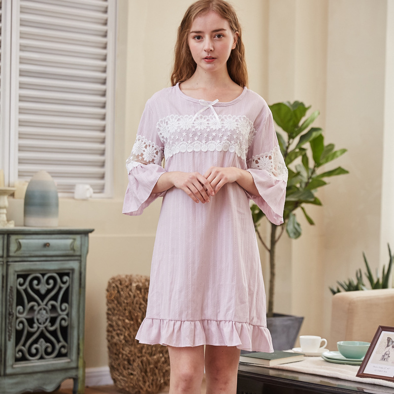 New Nightgowns 100% Cotton Comfortable Soft Nightdress Women Sleepwear Cute  Lace Sweet Princess Style Home Sleepshirts TK8838 507727993