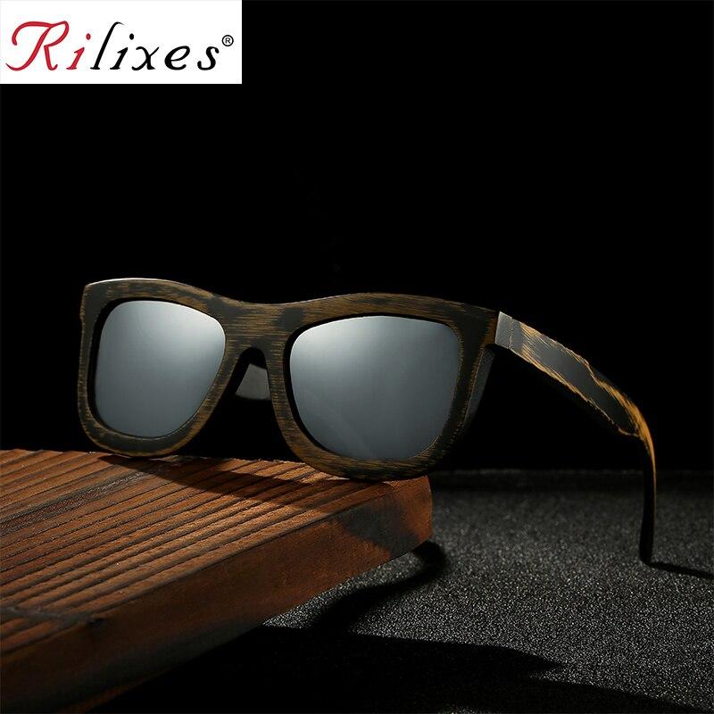 RILIXES Antique Bamboo Wood Sunglasses Polarized Handmade Bamboo Mens Sunglass Sun glasses Men Gafas Oculos De Sol Madera