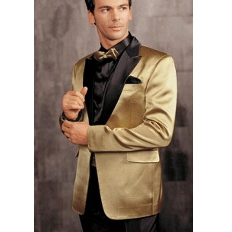 Gold Wedding Men Suits Black Peaked Lapel Groom Tuxedos New Two Piece Custom Made Suit (Jacket + Pants)