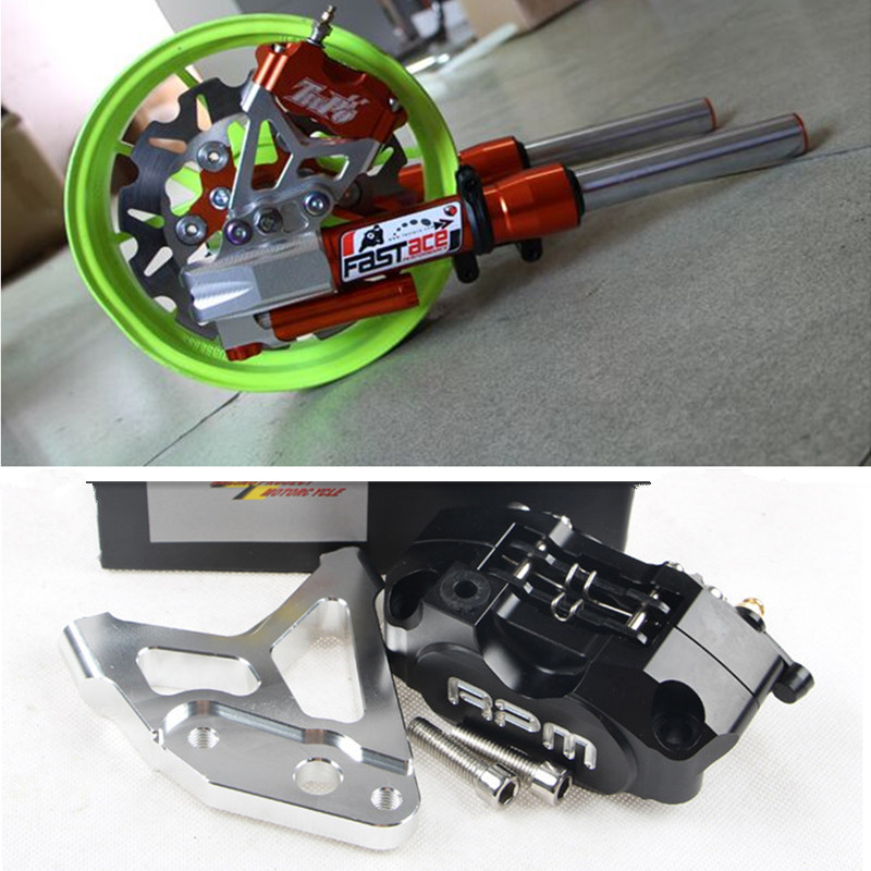 RPM Brand CNC Electric Motorcycle Scooter Brake Caliper + 200mm/220mm Brake Disc Brake Pump Adapter Bracket For 30mm Fork Yamaha keoghs motorbike rear brake caliper bracket adapter for 220 260mm brake disc for yamaha scooter dirt bike modify