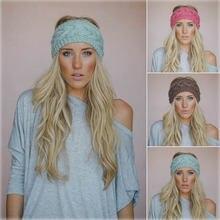 Повязка на голову женская вязаная шерстяная осень/зиму