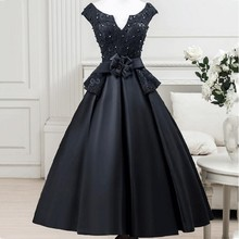 Luxus Marineblau Robe De Cocktailkleider 2016 Schulterfrei perlen Perlen Vestidos De Coctel Party Kleider Spitze Knie länge