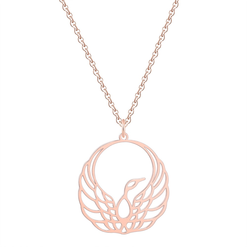 Chereda Charm Necklaces Women 39 s Fashion Jewelry Accessories Smooth Shine Stainless Steel Chain Chain In Rose Gold Bijoux Femme in Pendant Necklaces from Jewelry amp Accessories