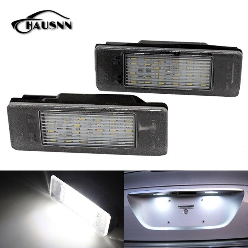 2Pcs/Set HAUSNN LED License Plate Light Error Free for Citroen BERLINGO ESTATE VAN JUMPY C2 C3 C4 C5 DS3 Xenon White Color