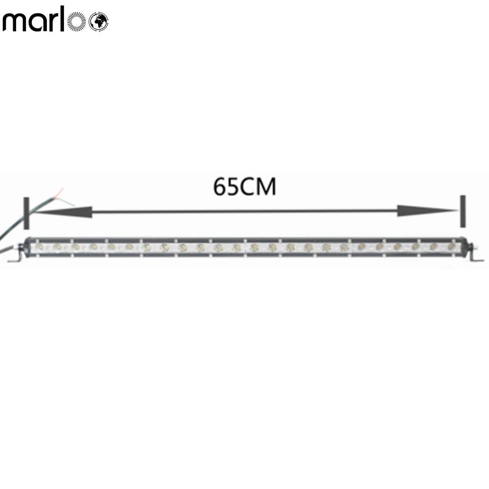 Marloo 1x Slim Light Bar 72W 26inch Single Row Thin LED Work Light Bar Spot Flood