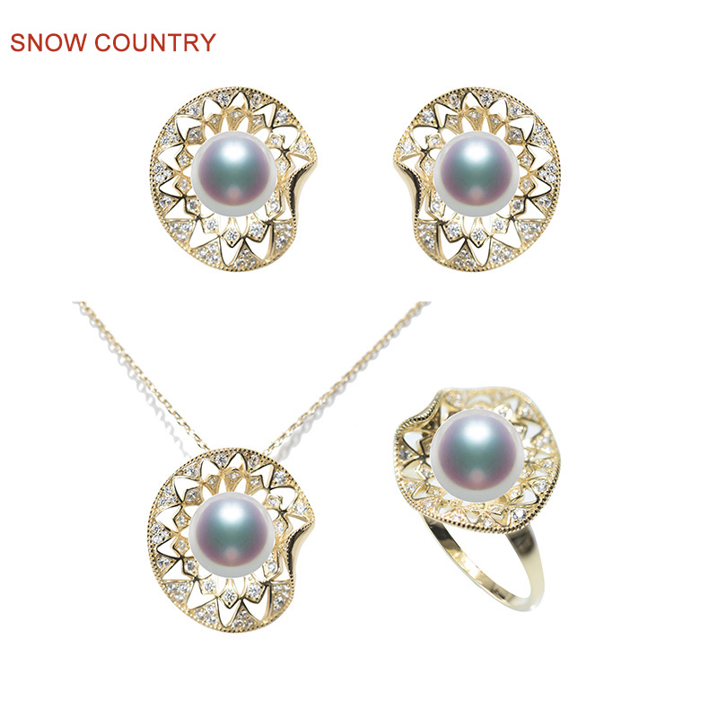 SNOW COUNTRY Charming Jewelry Set for Wedding Suit Natural Pearls S925 Earrings Necklace Pendent and Resizable Ring a suit of charming rhinestone hollow out necklace bracelet ring and earrings for women