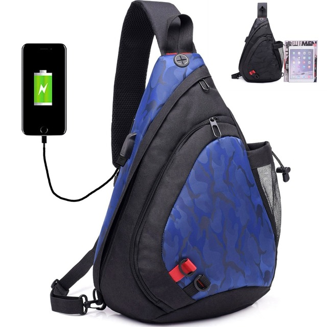 ea50c23a1e Women Men Camouflage Chest Bags USB Charging Waterproof Nylon Canvas  Crossbody Back Pack With Water Bottle