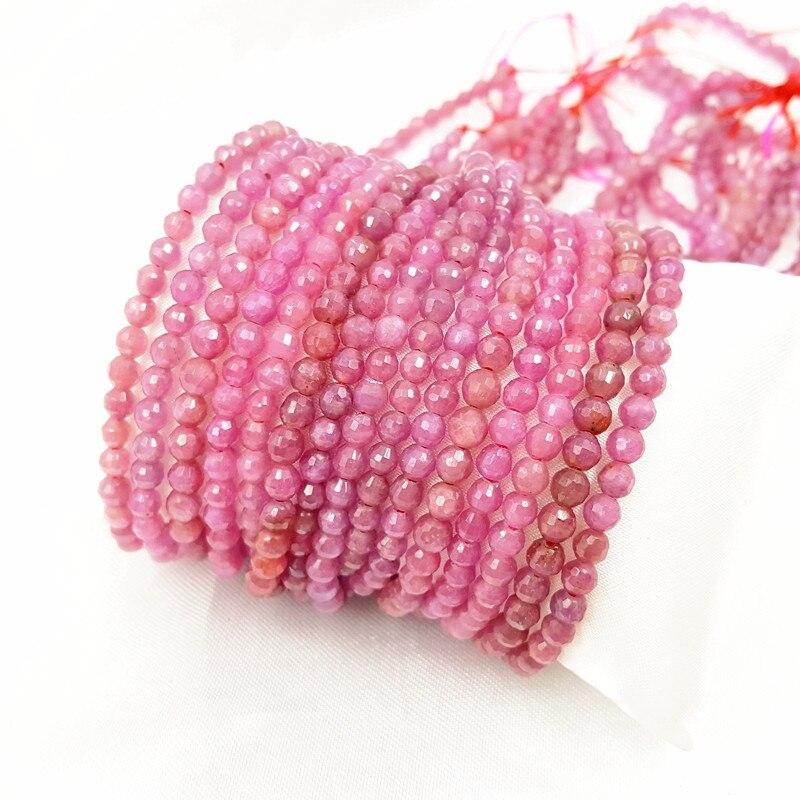 LiiJi Unique véritable rouge rose Rubys forme ronde perles à facettes 4mm bijoux à bricoler soi même faisant environ 39cm - 3