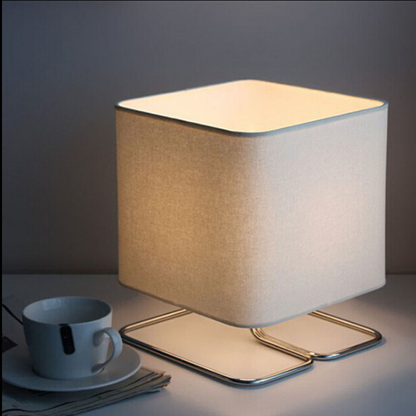 Modern Simple Led Reading Table Lamp,cloth Lampshade&iron Bracket Desk Lamp Bedroom Office Study Room Living Room Light Fixture Dependable Performance Lights & Lighting Led Lamps