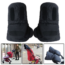 One Pair Kids Baby Pram Stroller Accessories Hand Muff Black Fur Gloves Fleece Cover Warmer Winter Gift 31cmx19x3cm