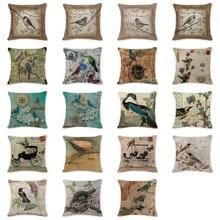 2017 Fundas de cojín personalizadas pájaro europeo animales Pilowcases regalos 18*18 algodón Lino bebé nacimiento Giftshome Vintage Almofada
