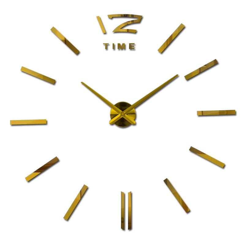 Neue ankunft 3d wohnkultur quarz diy wanduhr uhren horloge uhr wohnzimmer metall mode Acryl spiegel aufkleber