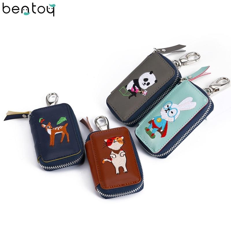 Bentoy Cartoon Embroidery Key Wallet For Women Leather Zipper Car Key Holder Cute Animal Coin Purse Keychain Organizer Wallet