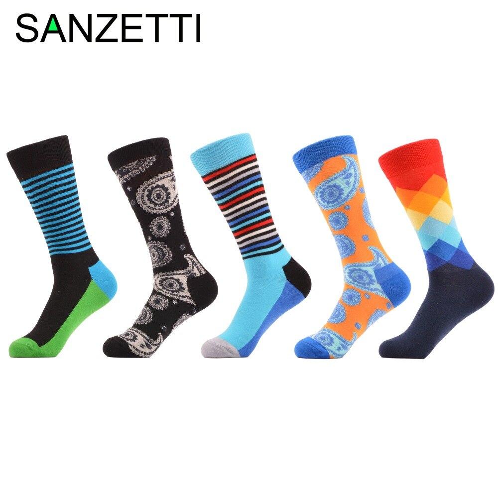 ③Sanzetti 5 par/lote hombres colorido divertido patrón rayas Argyle ...