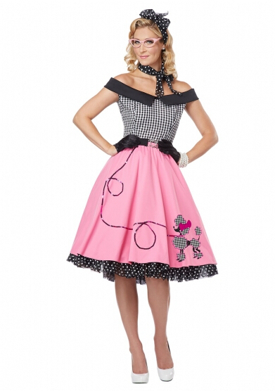 Wholesale Walson Ladies Woman Rock And Roll 1950s Grease Dress Pink