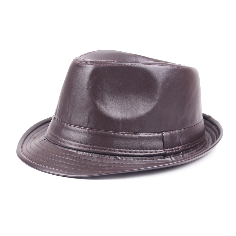 Inverno Di Cuoio Dell'unità Di Elaborazione Black Cap Fedora Cappelli Per Gli Uomini Curl Brim Panama Tè Cappellini Per Feste E Party Vintage Cappello Di Jazz Inghilterra Stile Mens Caps Da Processo Scientifico