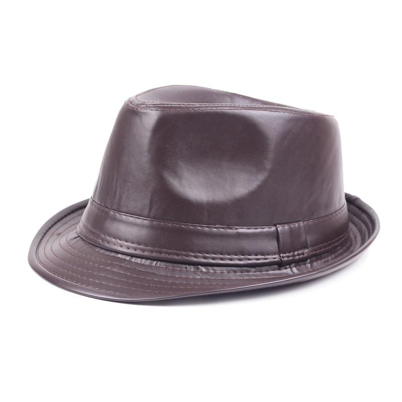 Winter Pu Leather Cap Black Fedora Hats For Men Curl Brim Panama Tea Party Hats Vintage Jazz Hat England Style Mens Caps