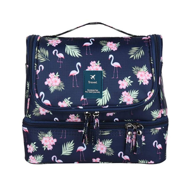 LHLYSGS Flamingo Cosmetic Bag Women Travel Large Double Layer Storage Toiletry Bag Waterproof Hanging Wash Organizer Makeup Bag